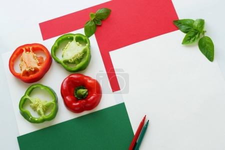 Fresh pieces of bell pepper