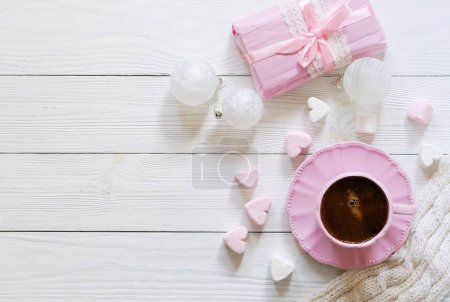 Pink cup with coffee