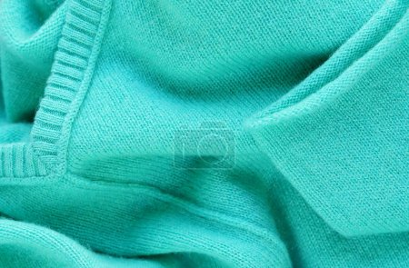 Luxury cashmere pullover mint colors. Close up