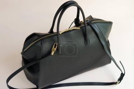 woman fashion luxury leather black bag isolated