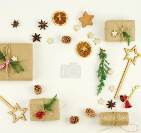 Christmas composition made of traditional decorations