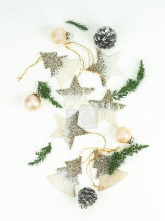 Christmas composition with thuja branches, cones, new Year decorations