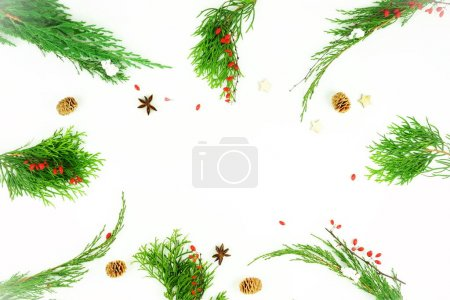 christmas frame background. creative abstract composition of xmas decorations, branches of Christmas tree, gifts, balls on white background. top view. flat lay. Copy space. Winter holiday concept