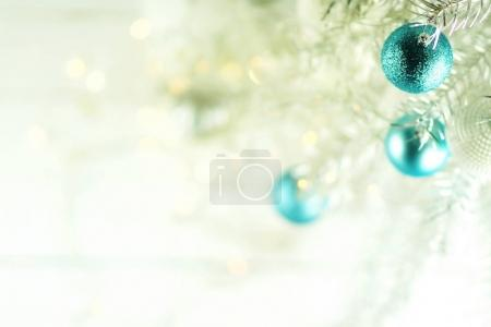 Christmas silver tree background. Happy New Year and Xmas theme