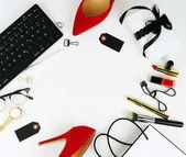 Female fashionable stylish accessories and cosmetics. Beauty blog concept. Flat lay. Copy space
