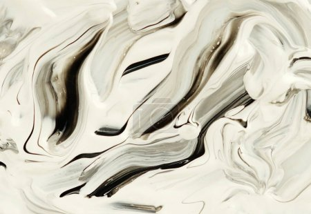 Abstract marble white and black paint background. Acrylic texture with marble pattern