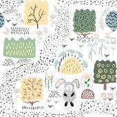 Forest seamless pattern background Shift brick 05 Vector illustration