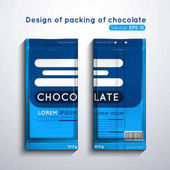 Vector illustration of packaging of chocolate Template of design of blue color