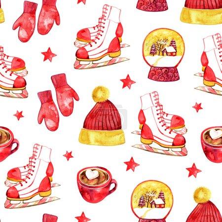 Photo pour Mignon motif de Noël aquarelle sans couture, y compris chapeau, mitaines, crème glacée, chocolat chaud, patinage, globe de neige et autres - image libre de droit