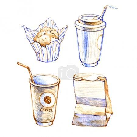 Photo pour Image dessinée de croquis main de tasse à café, petit gâteau. Isolé sur blanc - image libre de droit
