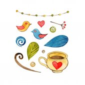 Watercolor elements collection in hand drawn style, watercolor elements for cards, poster