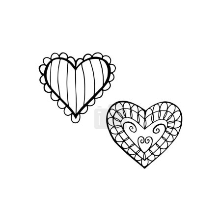 Illustration for Ornate sketch hearts. Hand drawn cute vector illustration isolated on white background - Royalty Free Image