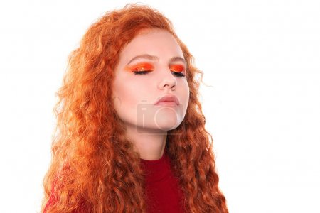 Photo for Beautiful sexy woman with red hair,  isolated on a white background - Royalty Free Image