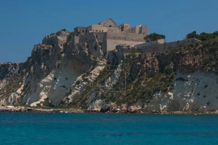 San Nicola island from the nearby San Domino island, with the Abbey of Santa Maria a Mare fortified complex