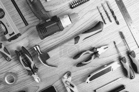 Business card and construction tools, top view, flat lay. Tools sailing and workers concept.