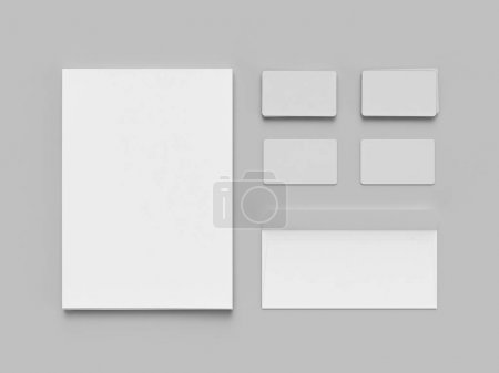 Blans and frames on gray background. flat lay. Concept for signes.