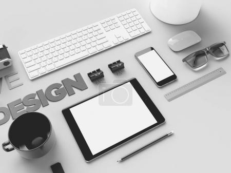 Stylish office workplace in monochrome on a gray background with sign design, mock up. Presentation. Frame. Blank notebook and phone. Flat lay.