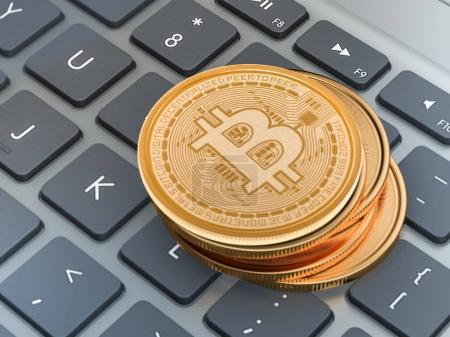 Golden Bitcoins On laptop. Trading Concept Of Crypto Currency