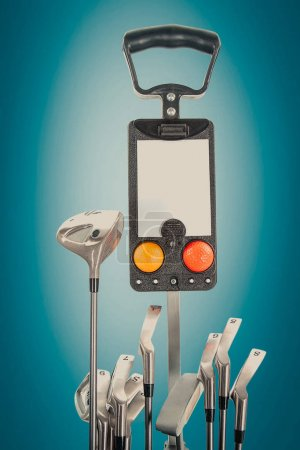 Professional golf equipment in studio on green & blue background