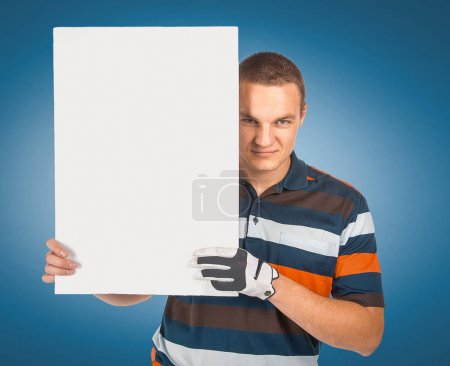 Emotional handsome golfer player pose with empty white blank in
