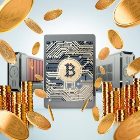 Bitcoin finance. Close up of golden bitcoins tossed into the air