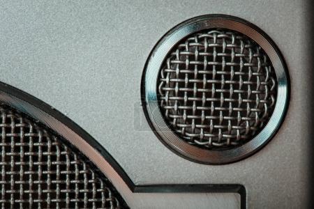 Closeup vintage retro speaker grill. Filtered image