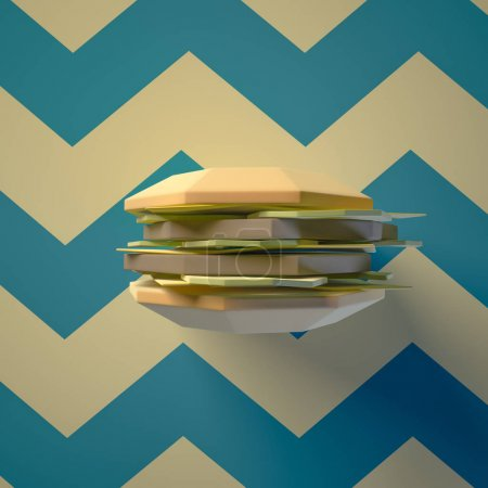 Different food from cardboard  on blue background. Cartoon food