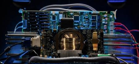 Photo for Device and machines for mining cryptocurrency. Bitcoin mining. Computer circuit computer board - Royalty Free Image