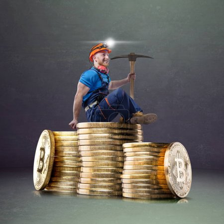 Photo for Macro view of miner working for bitcoins mine pool. Devices and technology for mining cryptocurrency. Mining cryptocurrency concept. - Royalty Free Image