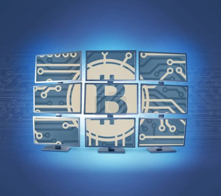 Photo for Bitcoin mining virtual cryptocurrency concept - Royalty Free Image