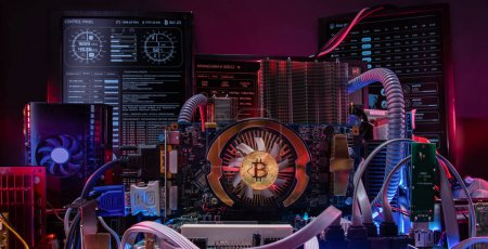 Photo for Concept of computer circuit computer board for bitcoin mining. - Royalty Free Image