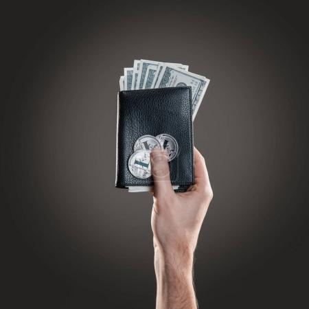 Hand holding leather wallet with litecoin coins and dollar bills against the the gray background. Digital monitoring, checking and money exchange cryptocurrency concept