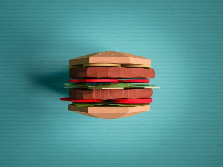 Fast food concept. Burger from cardboard on blue background. Car