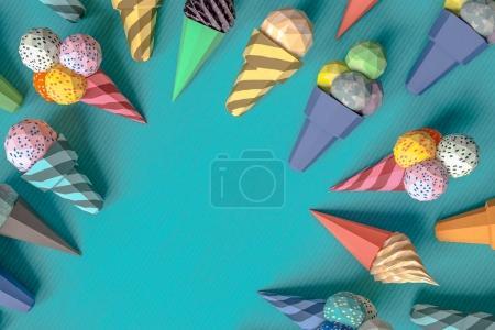 Foto de Helado de cartón en el fondo de papper. Concepto de alimentos de comida producto empaquetado y entrega de la historieta. render 3D de la modelo - Imagen libre de derechos