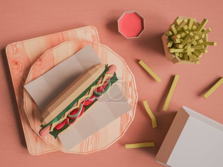 Fast food background concept from cardboard on paper background.