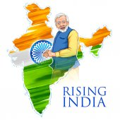 India map tricolor flag background with proud Indian people