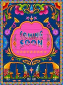 Colorful coming soon banner in truck art kitsch style of India