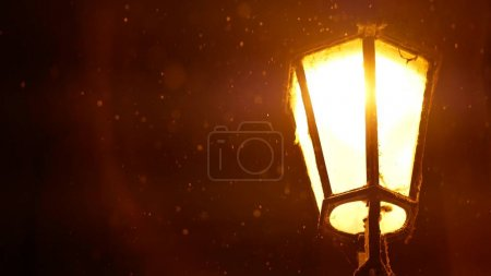 Vintage lantern at the night street. Hystoric buil...