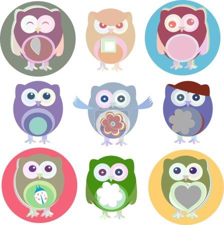 Foto de Juego de búhos de dibujos animados con varias emociones - Imagen libre de derechos