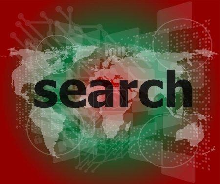 Photo pour Concept de développement pour le web SEO : recherche de mots sur fond numérique - image libre de droit