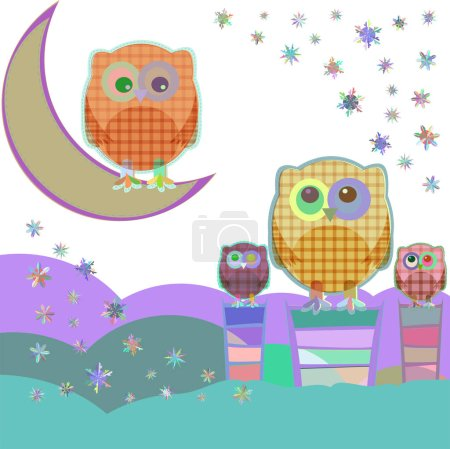 Owl and moon, nocturnal sky