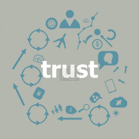 Text Trust. Business concept . Universal and standard icons for web and app