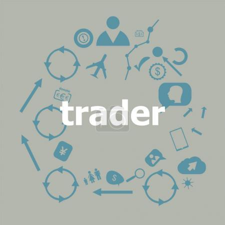 Text Trader. Business concept . Universal and standard icons for web and app