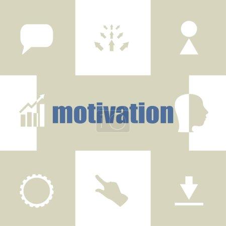 Photo pour Motivation textuelle. Concept d'entreprise. Éléments infographiques. Ensemble d'icônes commerciales - image libre de droit
