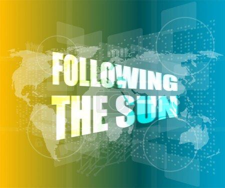 Photo pour Suivant le soleil sur écran tactile numérique, 3d - image libre de droit