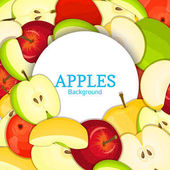Round white frame on color apples background Vector card illustration Delicious fresh apple whole peeled piece of half slice leaves seed appetizing looking for packaging design  food