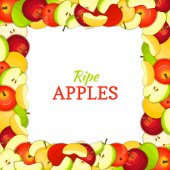 Square colored frame composed of delicious juicy apple fruit Vector card illustration Rectangle apples  Ripe fresh  fruits appetizing looking for packaging design  juice breakfast food