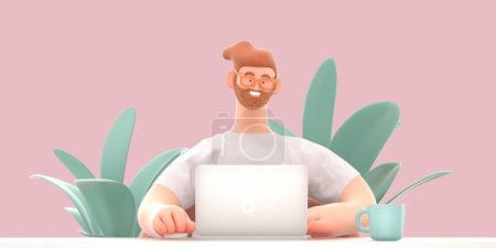 Photo pour Home Office 3D render -concept moderne illustration numérique bureau à domicile métaphore de quarantaine, un personnage de bande dessinée, un gars travaillant à la maison assis au bureau avec un ordinateur portable. En-tête de la page Web - image libre de droit