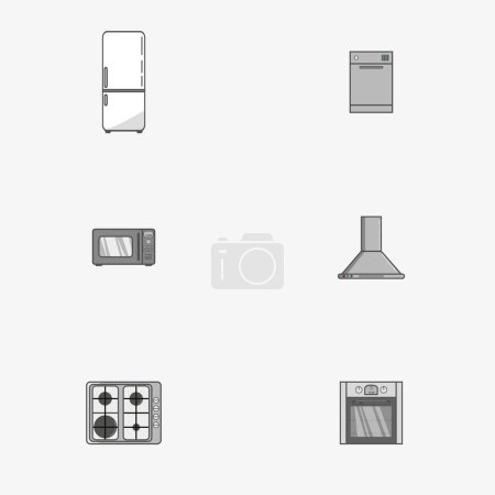 Set of icons of home appliances in flat style. Simple icons on grey background. Vector illustration.