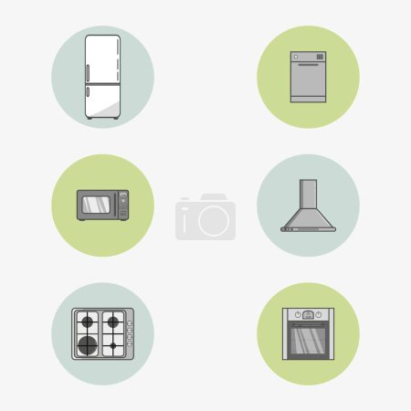 Set of icons of home appliances in flat style. Simple vector round icons in two colors.